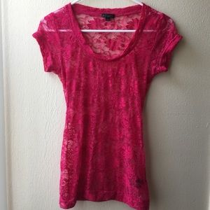 G by Guess Hot Pink Sheer Lace Top